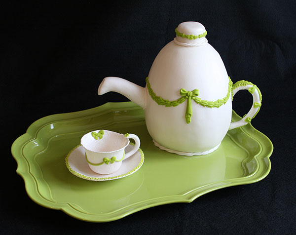 Foods Brits cant live without | Green Cermaic Tea Service with kettle and tea cups on a tray