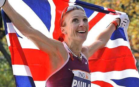 Paula Radcliffe with Union Jack flag